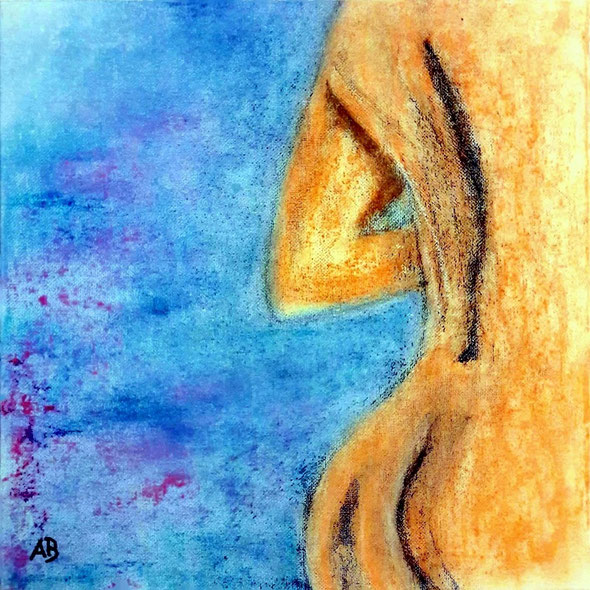 Frauenakt, Pastellbild, Erotik, Akt, Frau, Girl, Figurativ, Abstrakt, Pastellmalerei, Pastellkreide, Leinwand, Pastellgemälde