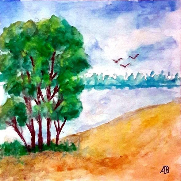 Bäume am See, Aquarellmalerei, Bäume, Wald, Wasser, Vögel, Gras, Feld, Wiese, Sommer, Blumen, Wasserfarben, Leinwand, Aquarellbild, Landschaftsbild, Aquarellgemälde