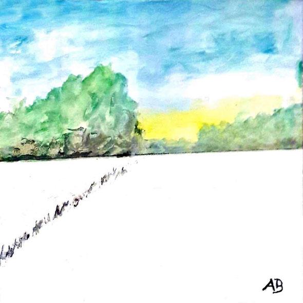 Winterfeld, Aquarellgemälde, Winterlandschaft, Bäume, Wald, Schnee, Feld, Landschaftsbild, Winter, Aquarellbild, Aquarellmalerei, Natur