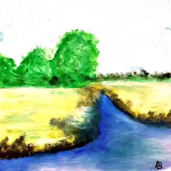 Felder und Bäume am Fluss, Mischtechnik, Pastellkreide, Acrylfarbe, Mischtechnikmalerei, Wald, Bäume, Wasser, Fluss, Felder, Landschaftsbild, Landschaftsgemälde