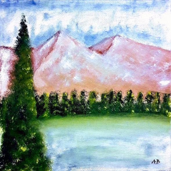 Bergsee, Ölgemälde, Berge, Bäume, See, Wald, Schnee, Wasser, Himmel, Landschaftsbild, Ölmalerei, Landschaft, Ölbild, Kunst