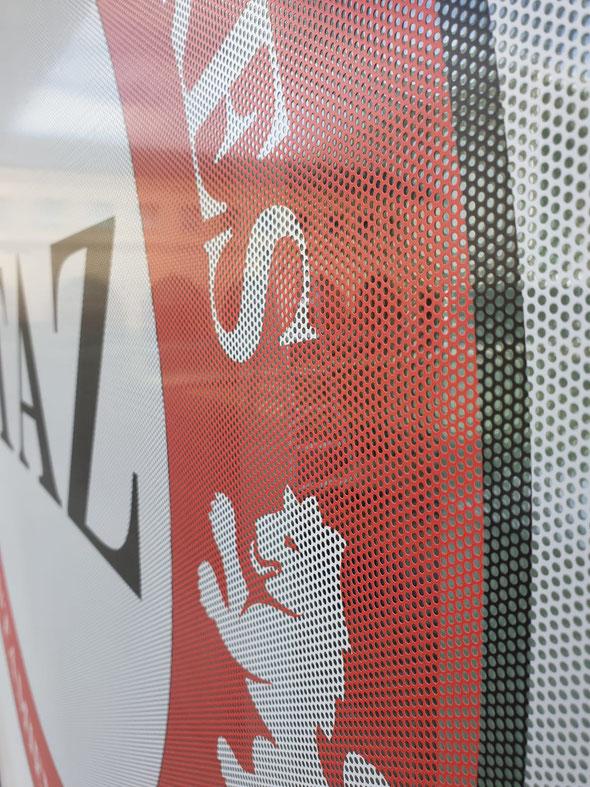 Apreciación del microperforado que hace que entre la luz a la oficina y se pueda ver el exterior desde el interior.