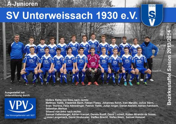 Mannschaftsbild der A-Junioren SV Unterweissach Saison 2013/2014