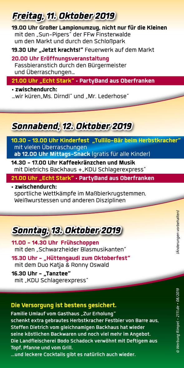 Das Programm des Finsterwalder Herbstkracher - Das Oktoberfest