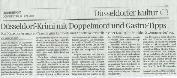 Rheinische Post vom 12. Juni 2014, Ausgabe Düsseldorf, Kulturseite