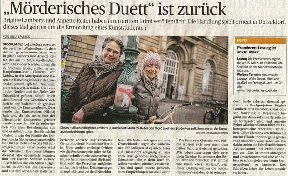 Rheinische Post vom 12.03.2016, Ausgabe Düsseldorf, Stadtteile, (c) Foto: Andreas Endermann