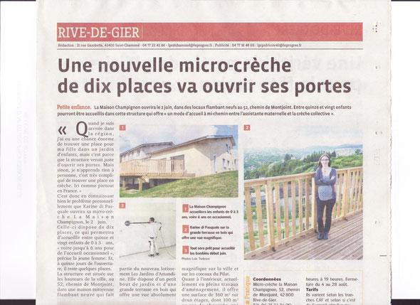 Article Le progès du 18 mai 2014 - une micro-crèche ouvre ses portes