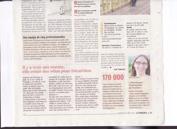 Article Le progès du 18 mai 2014