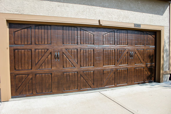 Kansas city cabinet refinishing faux finishing faux wood for Faux wood garage doors prices