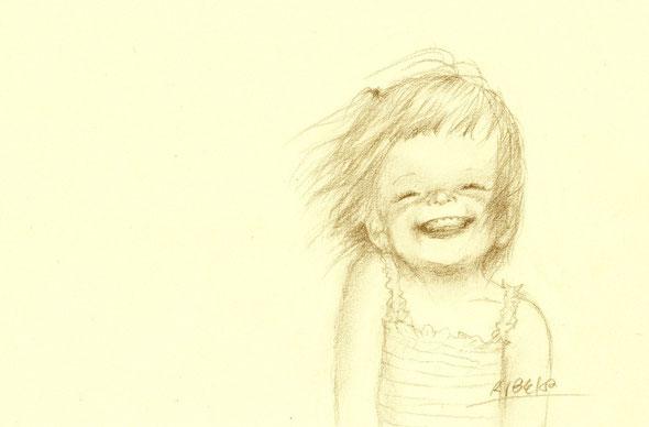 「風が好き」・・・15.5×23.5cm  鉛筆