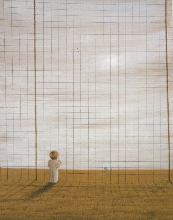 「keep out」・・・56.0×44.0cm  アクリル、色鉛筆、鉛筆