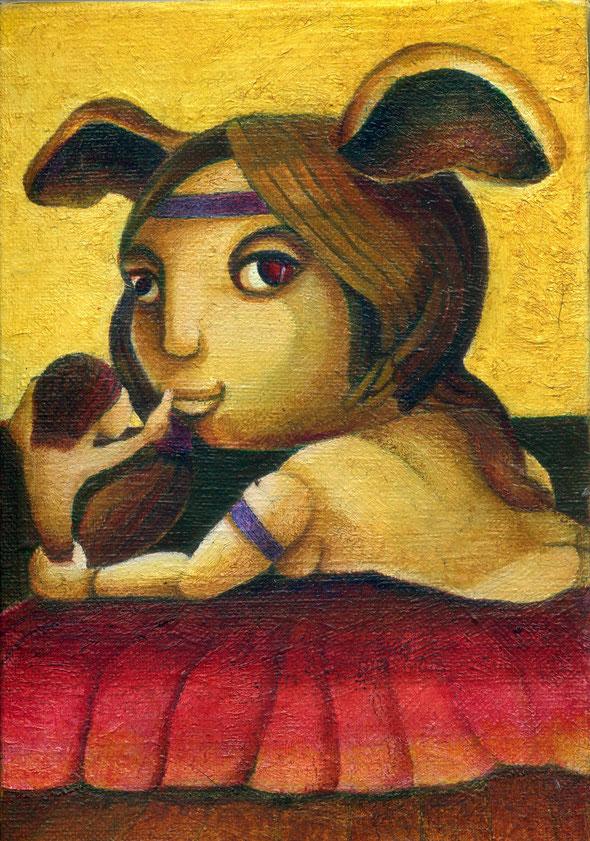 「おしゃべり」サムホール、油彩