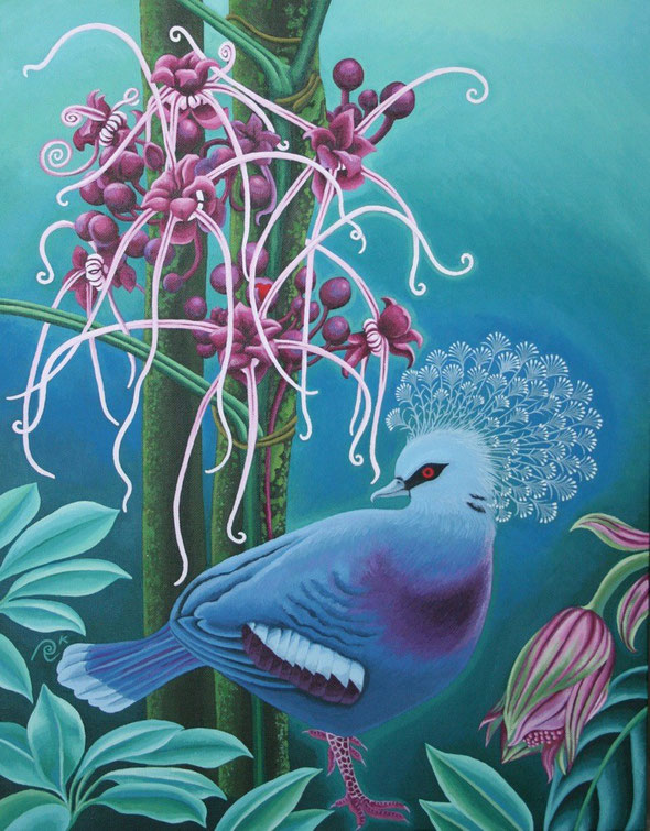 「Victoria Crowned Pigeon」/ Oil on canvas board / 31.8cm × 41cm (6号)