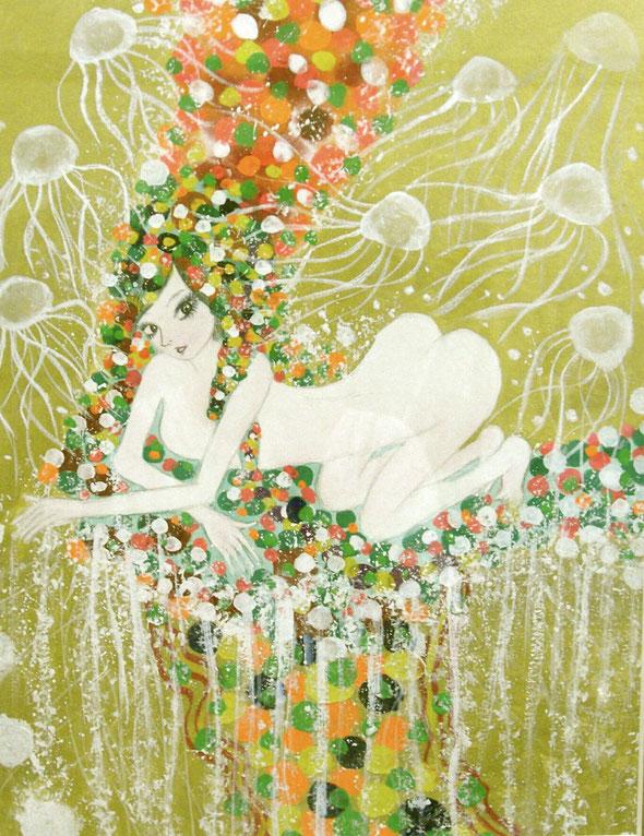 「百花繚乱〜ひゃっかりょうらん〜」 縦84.2cm×横50.6cm 日本画水彩絵具、顔彩、アクリル、膠(にかわ)、透明樹脂各種