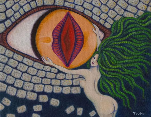 「開眼」キャンバス F0 / 14.0×18.0cm アクリル 第3回 小さな絵の大博覧会出展作品