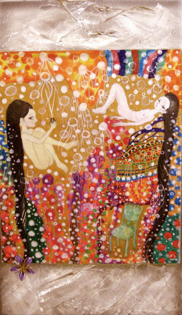 「花魁海月〜おいらんみづき〜」縦54.5cm×横43cm 日本画水彩絵具、顔彩、アクリル、膠(にかわ)