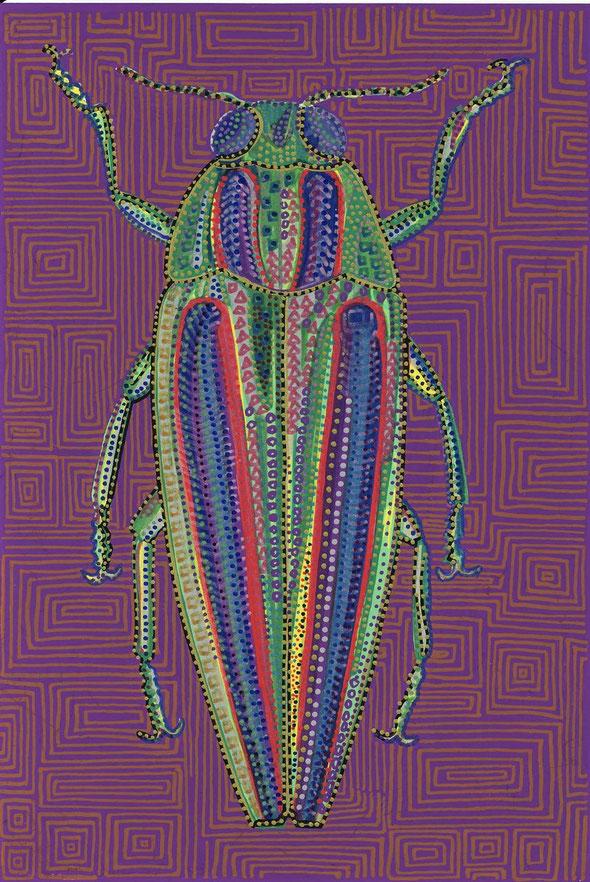 玉虫(たまむし)*9連作 2008年 マーカー 紙 ハガキ(15x10cm)
