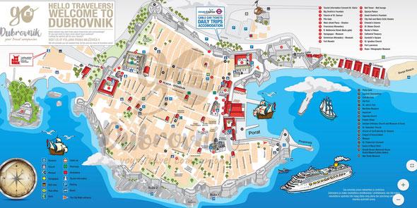 Karte von Dubrivnik's Altstadt