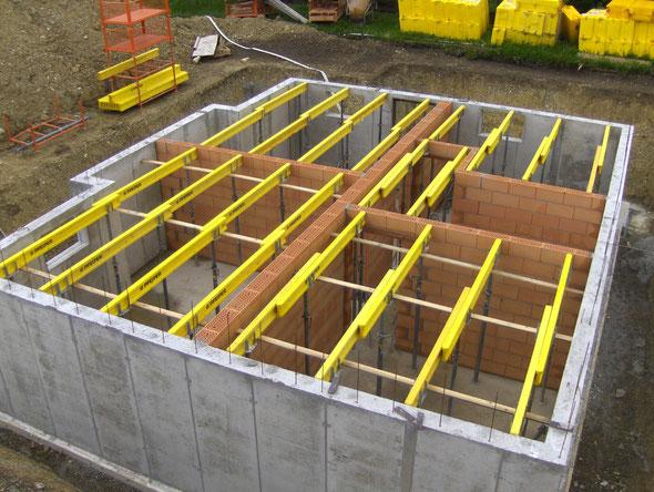 Unterkonstruktion für Stahlbetondecke