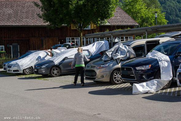 Parkplatz Bezauer WirtschaftsSchulen. Hier genossen wir das Gastrecht.