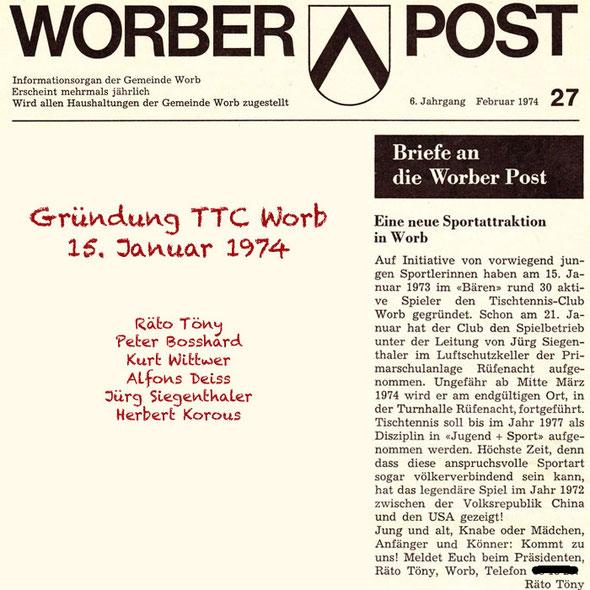 Gründung TTC Worb 15.1.1974