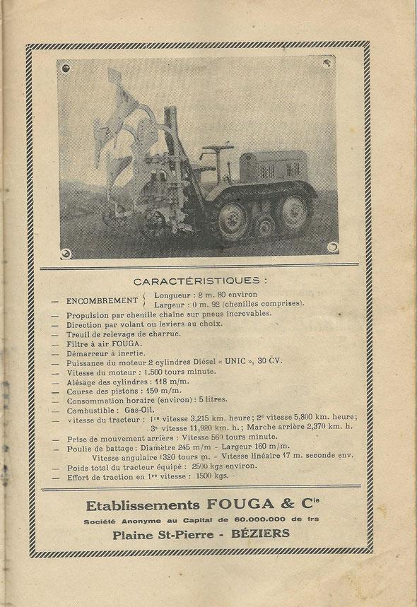 """Publicité sur un livret """"Le tracteur vigneron"""" daté de 1947 offert par notre ami Lilian ."""