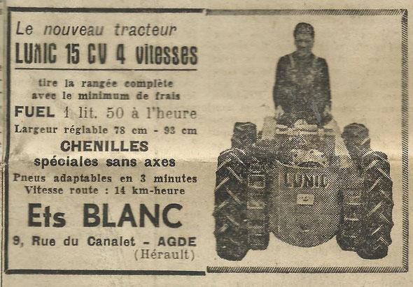 """Publicité sur le journal """"Le paysan du Midi """" du 26 Novembre 1959 ."""