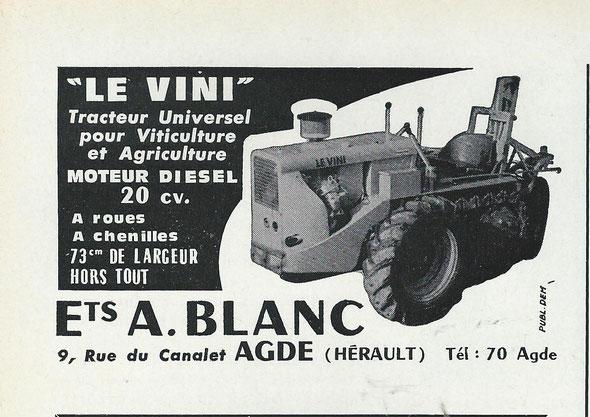 """Publicité dans la revue """"Motorisation agricole"""" du mois d'octobre 1965 ."""