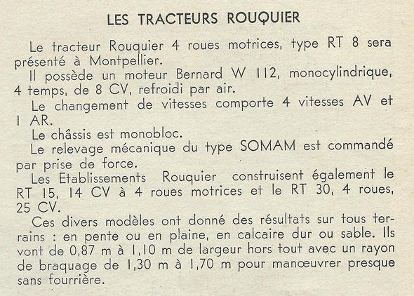 """Extrait de la revue """"Le Marchand Réparateur de Machines Agricoles"""" de Septembre 1953."""