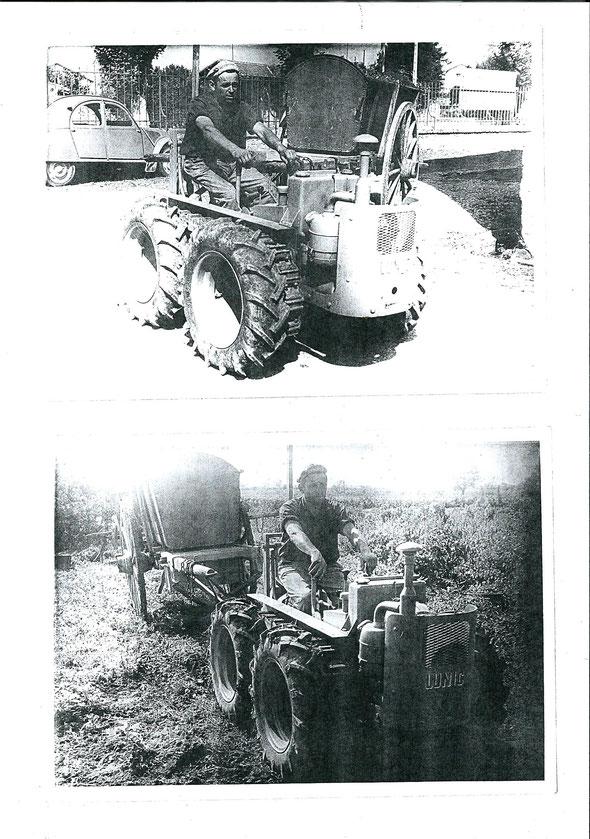 Photocopies de photographies d'époque sur le tracteur Lunic avec les roues !