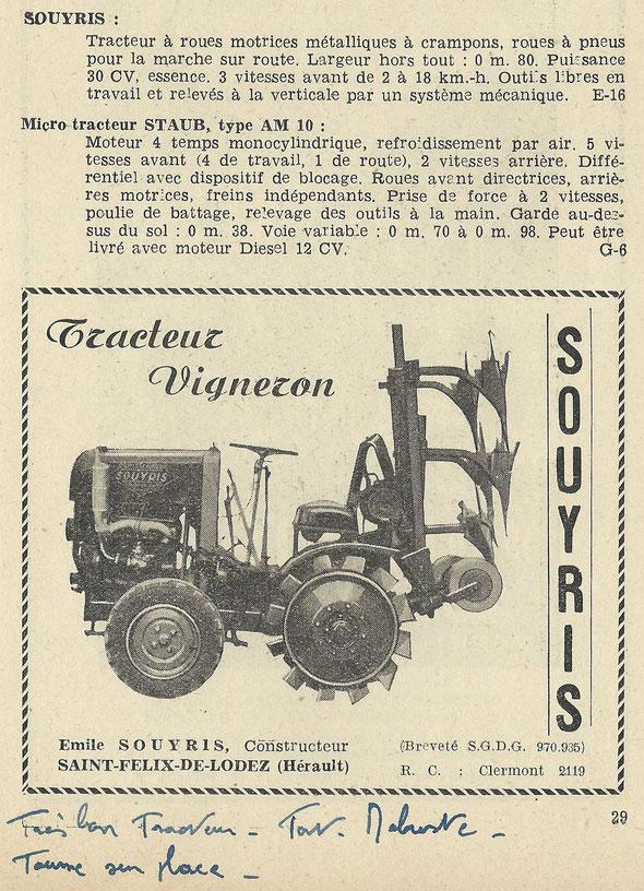 """Publicité sur le livret """"Motoviticulture """" de 1951 ."""