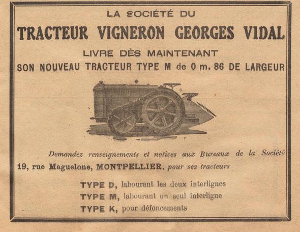"""Publicité sur le journal """"Le progrès agricole et viticole"""" du dimanche 15 septembre 1929"""