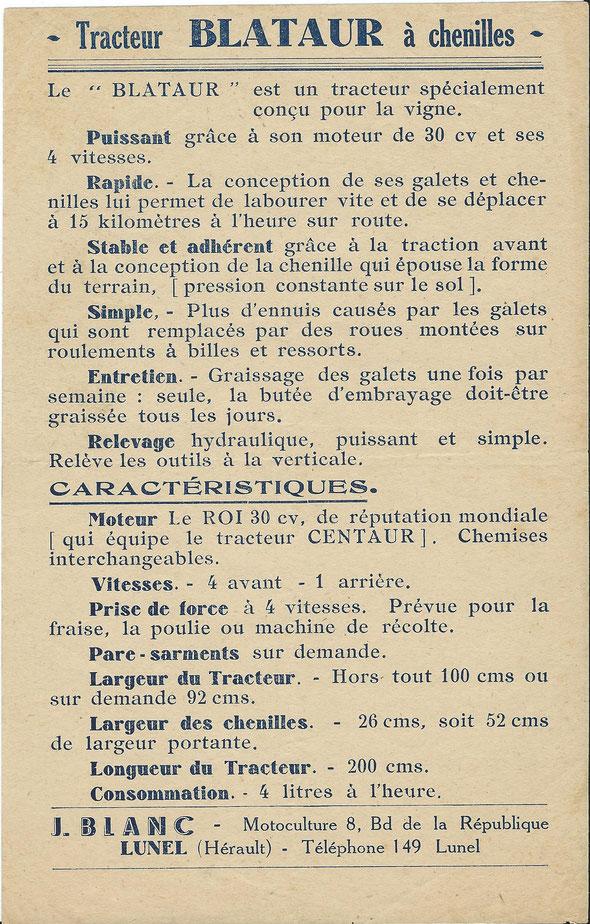 """Rare Feuillet publicitaire des années 40-50 pour le tracteur """"Blataur"""" distribué par la Société J. Blanc Motoculture à Lunel (34)."""