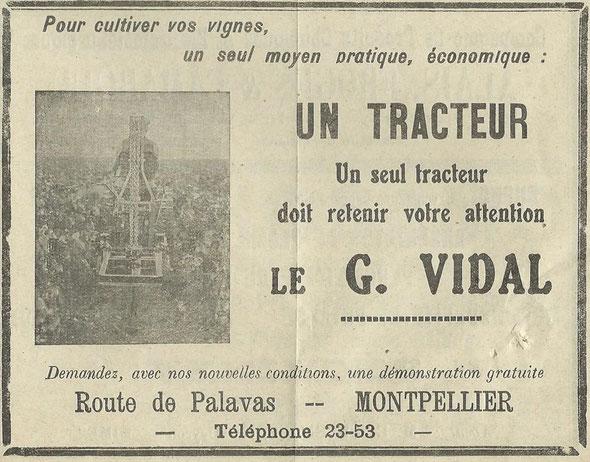 """Publicité dans le """"Bulletin de la société départementale d'encouragement à l'agriculture fr l'Hérault""""  de Mars 1934."""