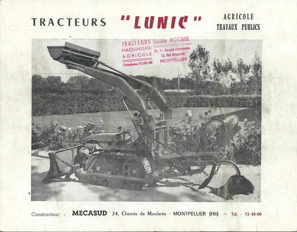 """Feuillet publicitaire des années 60 pour le tracteur Lunic première version produit par la société """"Mecasud"""" à Montpellier. Bien que produit pour la marque Staub, ce document ne fait référence qu'au constructeur et distributeur."""