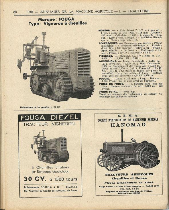 """Publicité dans la revue """"Motorisation agricole"""" de 1948"""