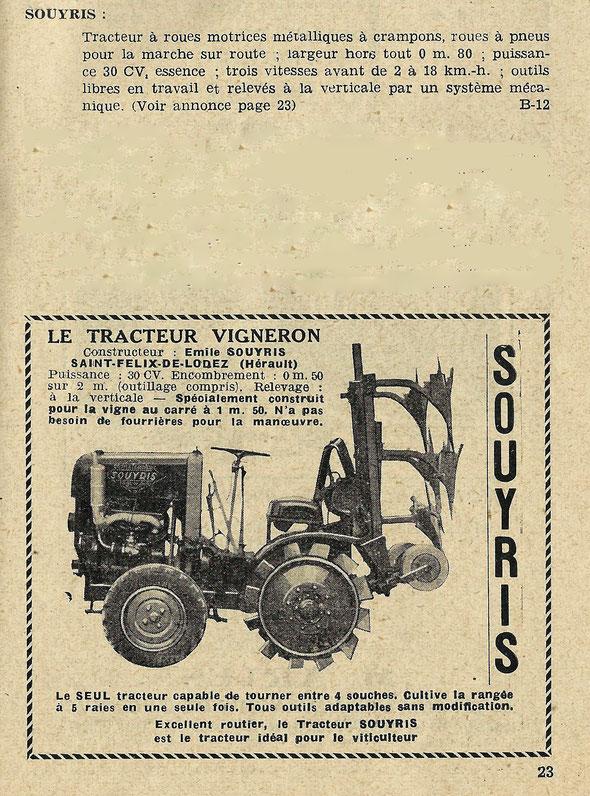 """Publicité Souyris sur le livret """"Journées de Motoviticulture"""" 17 et 18 octobre 1950"""
