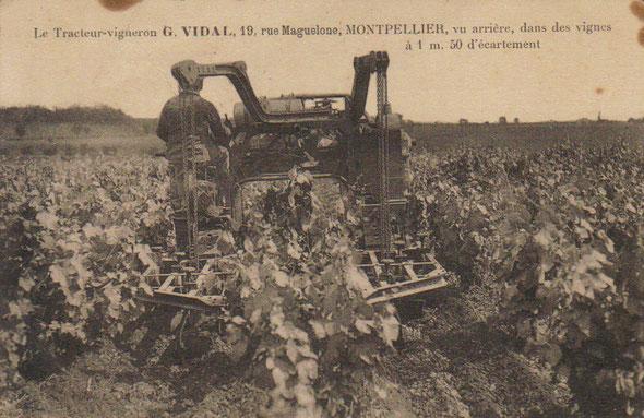Encore une carte postale du tracteur Georges Vidal vue arrière !