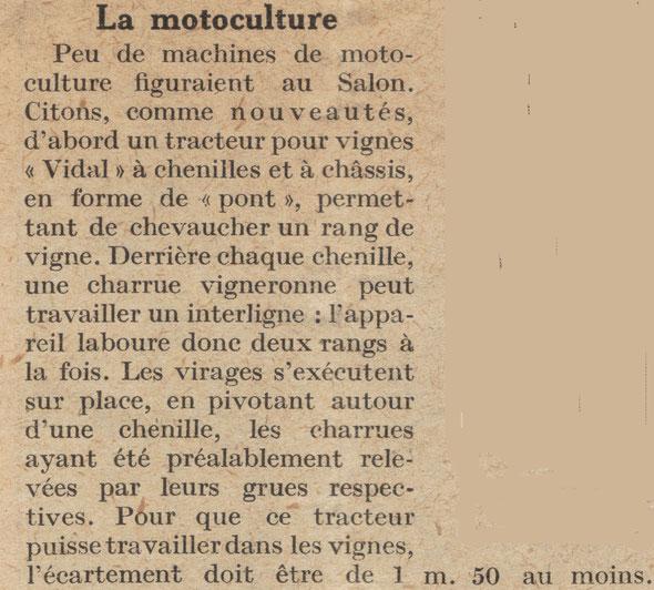 """Article sur la revue """"L'Agriculture Nouvelle"""" du samedi 14 février 1925 sur les machines nouvelles les plus intéressantes du IV ème salon de la machine agricole du 17 au 24 janvier 1925  au Parc des Expositions Porte de Versailles"""