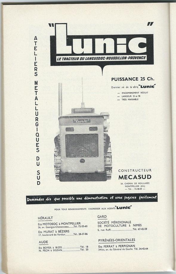 """Publicité sur un livret """"Motoviticulture"""" de 1962."""