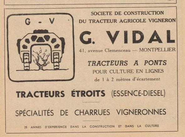 Vieille publicité dans une revue d'époque de 1947