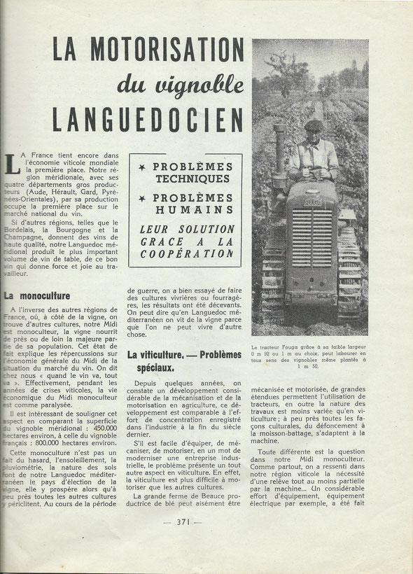 """Extrait de la revue technique de l'agriculture """" Le sol"""" n°71 Les C.U.M.A. en 1952."""