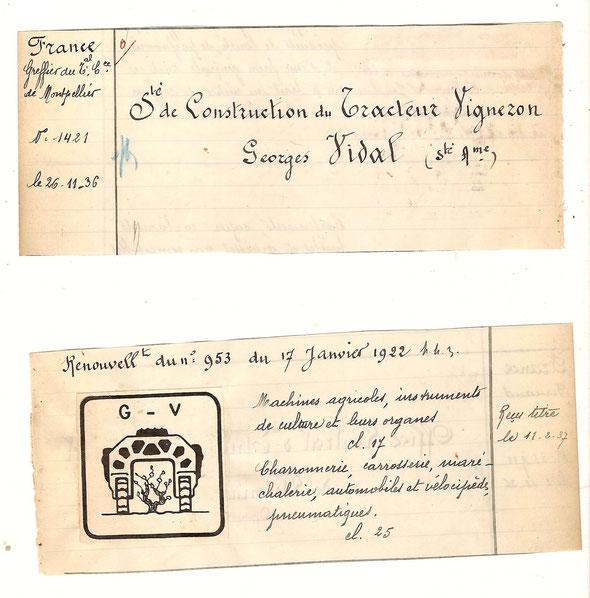 Rare document issu d'un registre de dèpot de marques. Renouvellement en 1936 de la marque déposée le 17 janvier 1922. Une vignette représentant le célèbre tracteur , collée sur le papier ... 2 fragments du registre , page de gauche et page de droite.