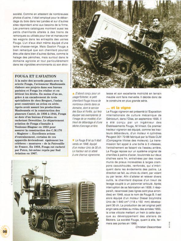 """Fiche des Editions Hachette pour la collection """"Tracteurs et monde agricole"""", article et archives de Mr Christian Descombes"""