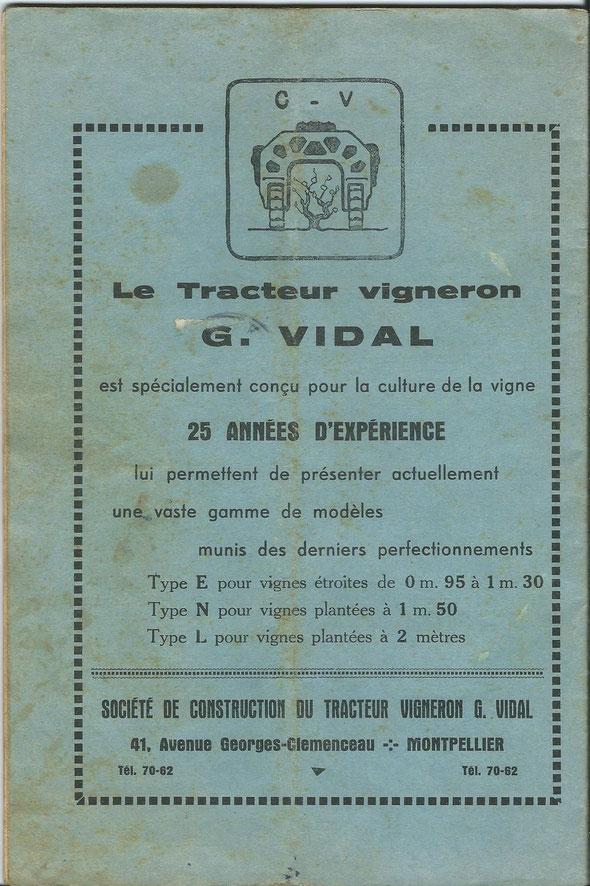 """Publicité sur un livret """"Le tracteur vigneron"""" daté de 1947 offert par notre ami Lilian"""