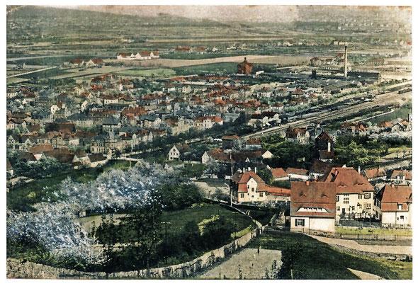 Blick von der Herrenkuppe ins Elbtal, Quelle:  Ansichtskarte um 1925