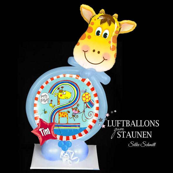 Ballon Luftballon Folienballon Stern Name personalisiert mit Giraffe Affe 2 Geburtstag Kindergeburtstag Party Feier Deko Dekoration Tischdeko Versand Geschenk Überraschung Mitbringsel Junge Mädchen Happy Birthday