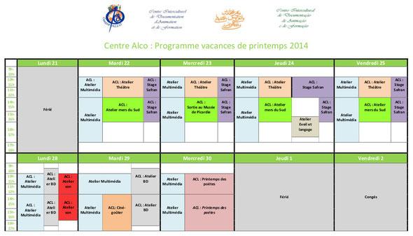 Programme des vacances de printemps