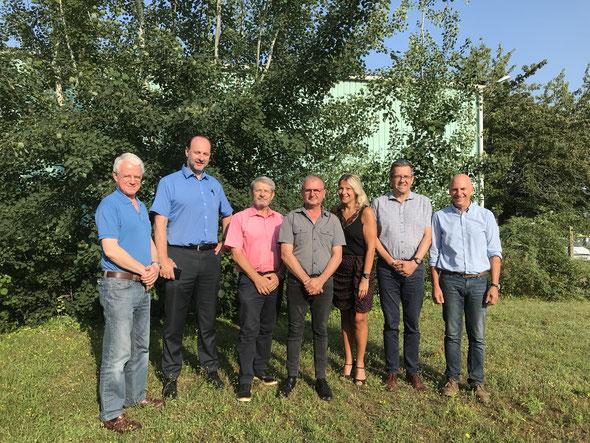 De gauche à droite : François Laserson, Damiens Souris, Bertrand Guimard, Jacky Tanchoux  Christine Thomas, François Duverger et Bruno Lhoste