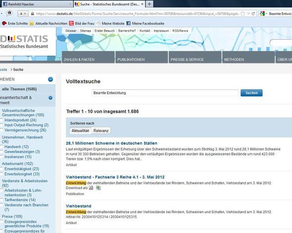 """Suchergebnis bei www.destatis.de nach der Eingabe der Begriffe """"Beamte Entwicklung"""""""
